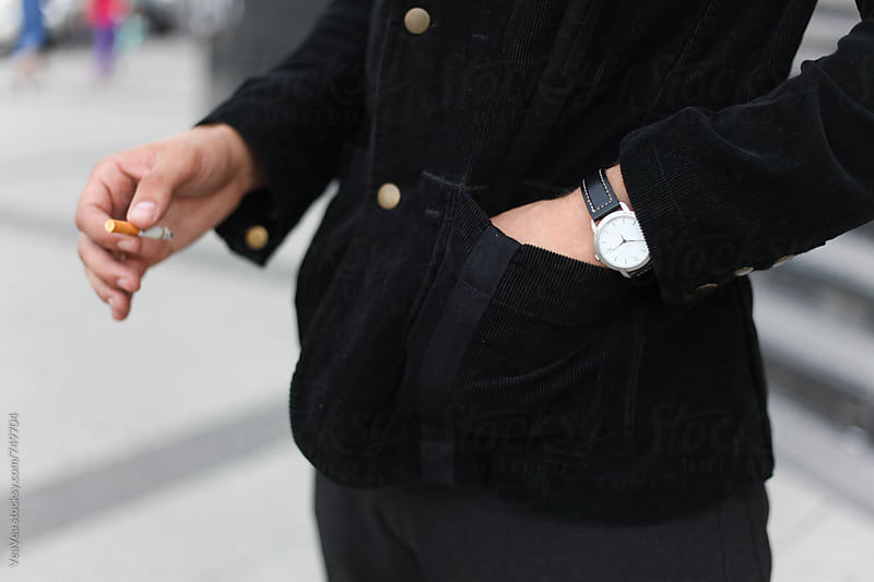 Male hand with wrist watch on it  by Marija Mandic for Stocksy United