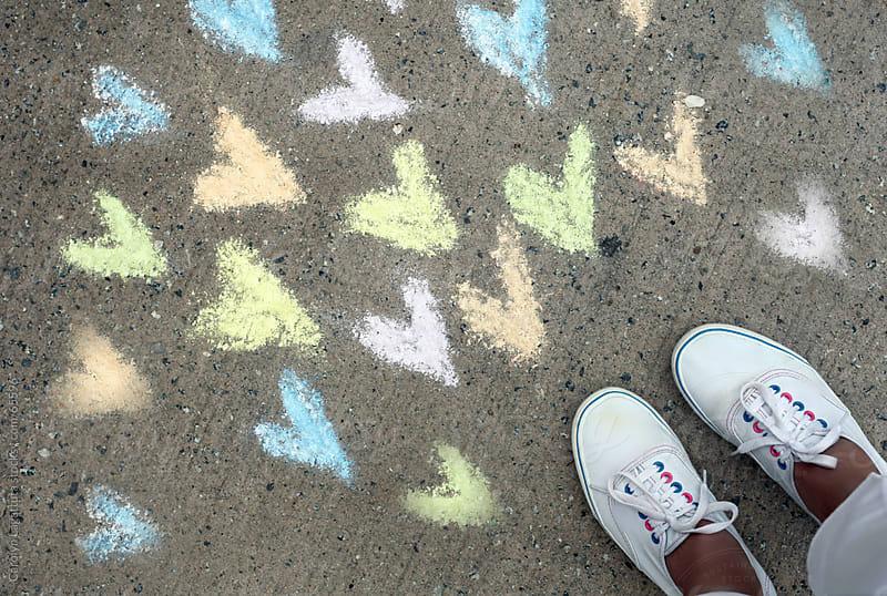 Many pastel chalk hearts and tennies by Carolyn Lagattuta for Stocksy United