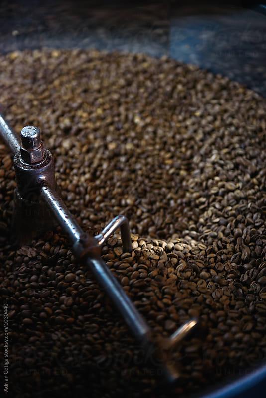 Fresh Coffee Beans; freshly roasted coffee in a  roasting machine by Adrian Cotiga for Stocksy United