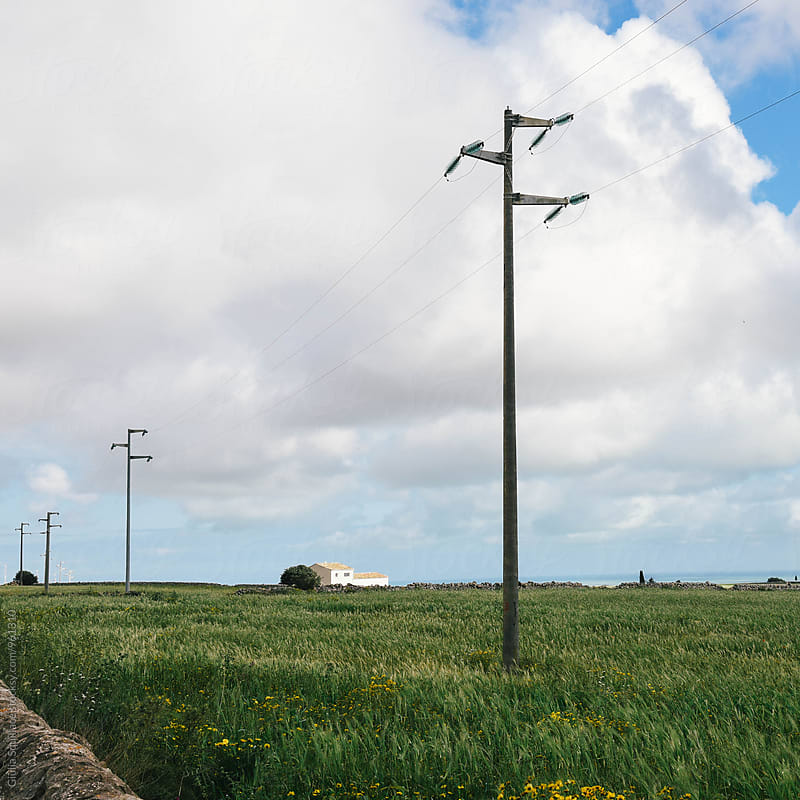 Power lines in  green field by Giulia Squillace for Stocksy United