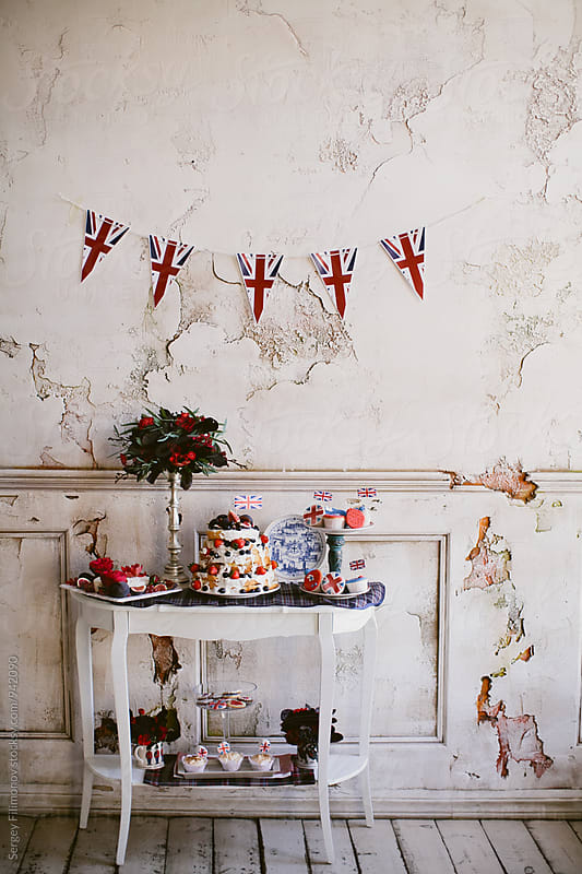 Beautiful wedding cake on the old table by Sergey Filimonov for Stocksy United