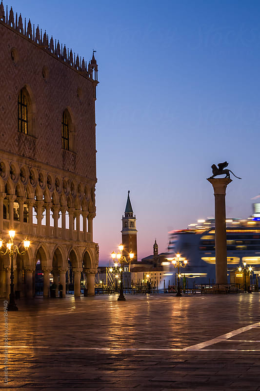 cruise liner passes the st. marks square by Leander Nardin for Stocksy United