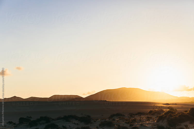 Desert landscape at sunset with copy space by Alejandro Moreno de Carlos for Stocksy United