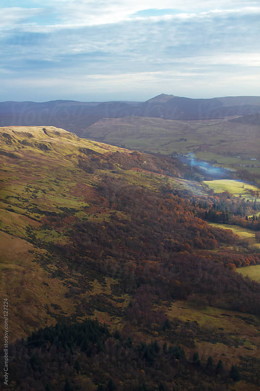 Aerial view of the Scottish countryside by Andy Campbell for Stocksy United