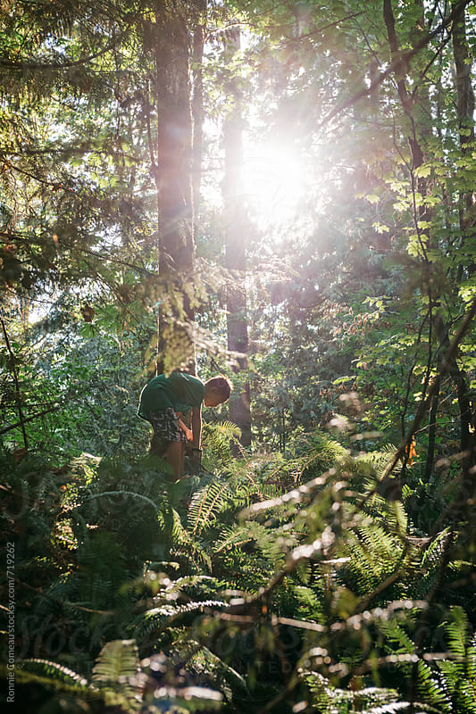 Boy Exploring Forest In Sunlight by Ronnie Comeau for Stocksy United