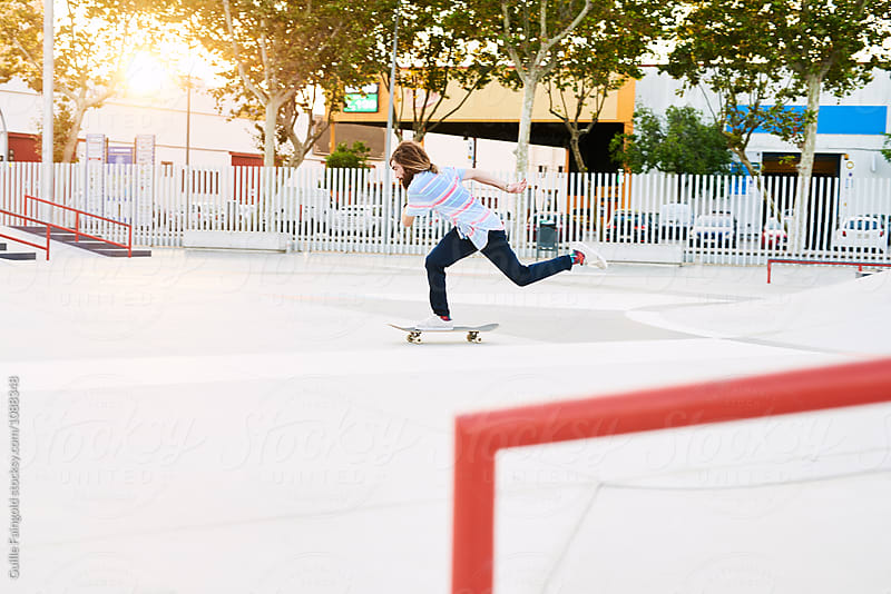 Skater riding in skate park by Guille Faingold for Stocksy United