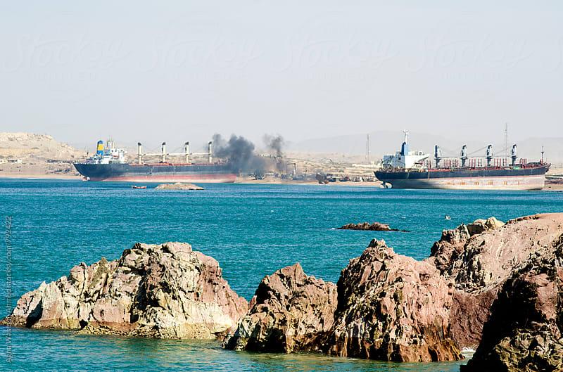 Gadani ship-breaking yard , world's third largest ship breaking yard.  by Agha Waseem Ahmed for Stocksy United