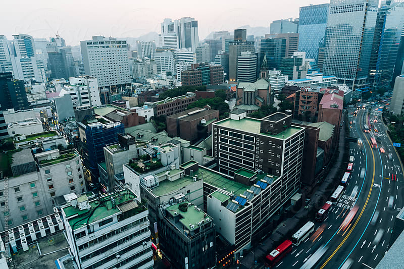 urban traffic of seoul,south korea by unite images for Stocksy United