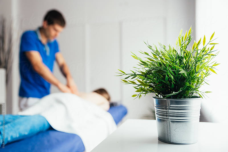 Decorative green plant in a physiotherapy room whilst a client is receiving a massage by Inuk Studio for Stocksy United
