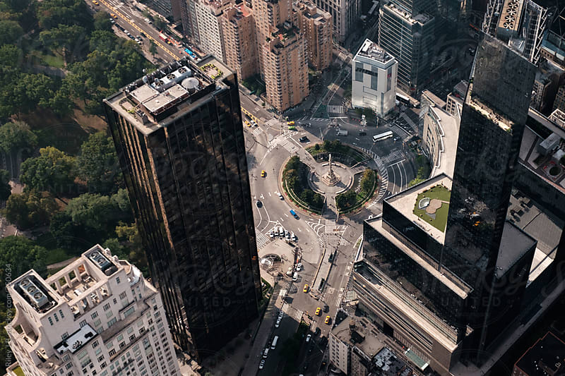 Looking Down on Columbus Circle by Riley J.B. for Stocksy United