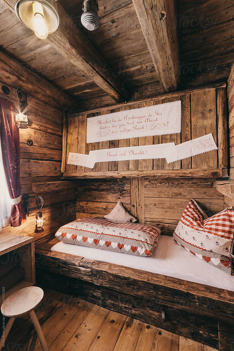 Old Rustic Wooden Bed Room With Openable Bunk Bed By Akela From Alp To Alp Stocksy United