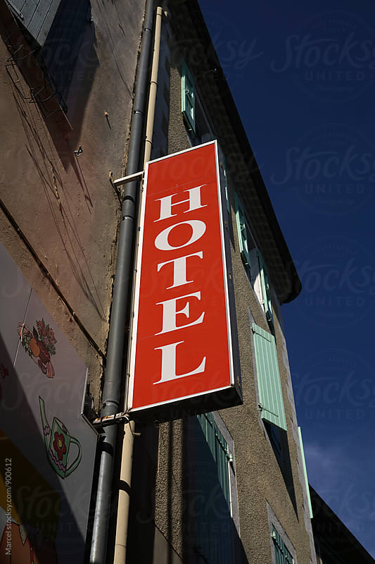 Hotel sign in France in summer by Marcel for Stocksy United