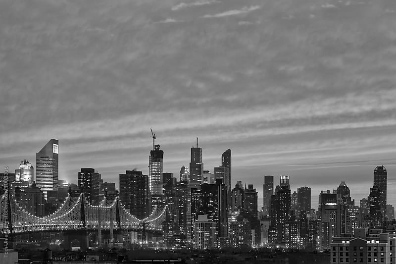 New York City - Midtown Manhattan Skyline and Queensboro Bridge in Black and White by Tom Uhlenberg for Stocksy United