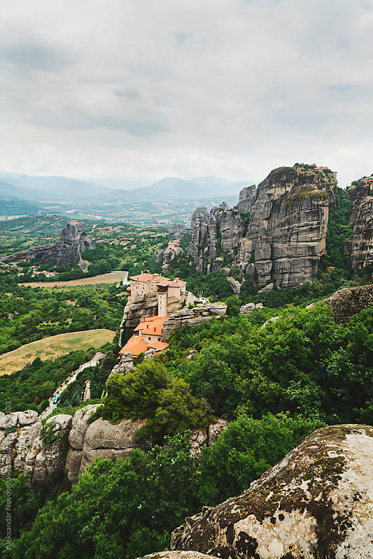 Beautiful landscape in a cloudy day of Meteora, Greece by Aleksandar Novoselski for Stocksy United