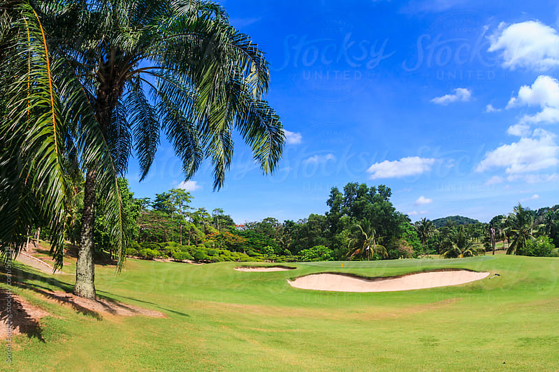 Scenic golf course with bunker  in Thailand Asia by Soren Egeberg for Stocksy United
