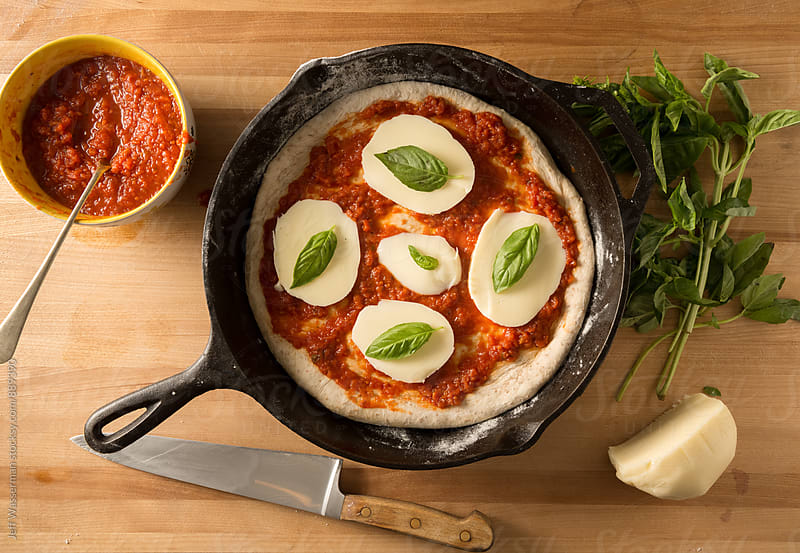 Ingredients for Whole Wheat Skillet Margherita Pizza by Jeff Wasserman for Stocksy United