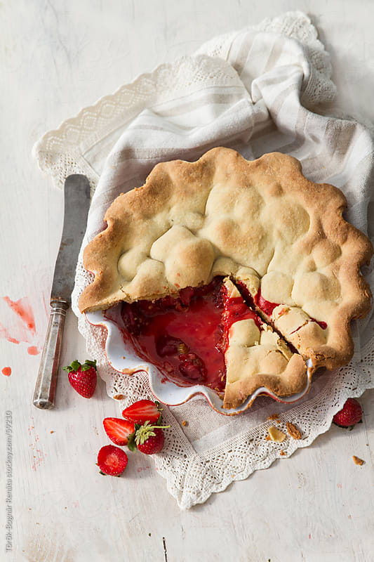 Rhubarb and strawberry pie by Török-Bognár Renáta for Stocksy United