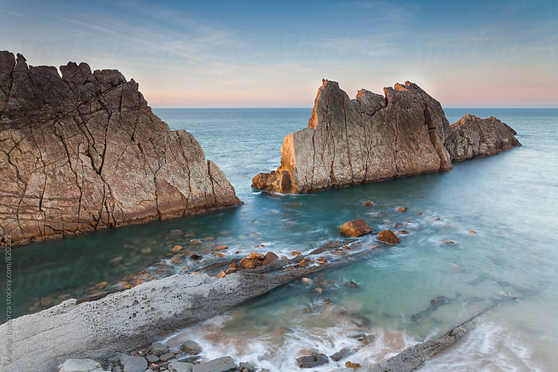 Beautiful coastline at sunset by Marilar Irastorza for Stocksy United