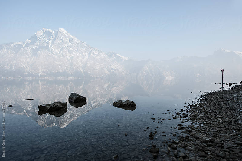 Traunstein mountain at the Traunsee lake in austria by Robert Kohlhuber for Stocksy United