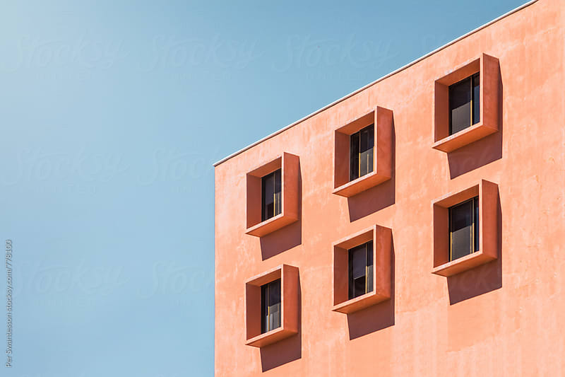 Modern orange office building by Per Swantesson for Stocksy United