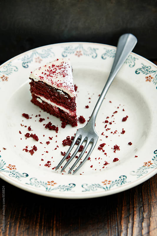 A slice of cake on a plate by James Ross for Stocksy United