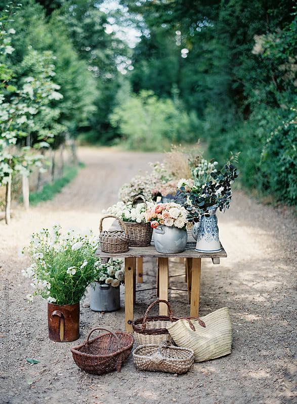 Floral Stand in France  by Vicki Grafton Photography for Stocksy United