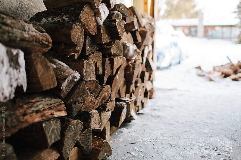 firewood being stacked in a pile by Sarah Lalone for Stocksy United