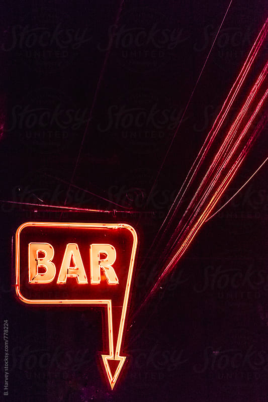 Minimalist BAR sign at night by B. Harvey for Stocksy United