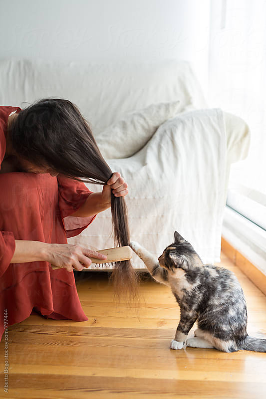 Woman combing long hair with cat by Alberto Bogo for Stocksy United