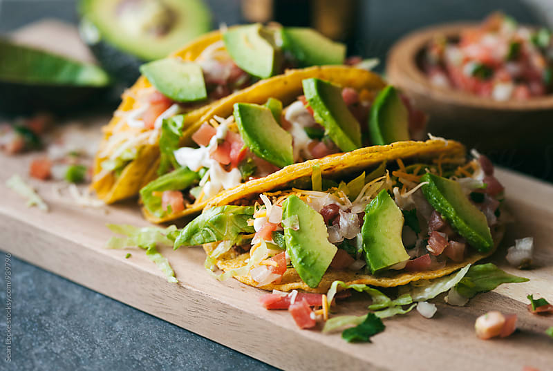 Tacos: Ground Beef Tacos With Salsa And Avocados by Sean Locke for Stocksy United