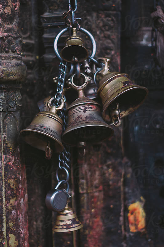 Bells on a hindu temple in Kathmandu, Nepal. by Shikhar Bhattarai for Stocksy United