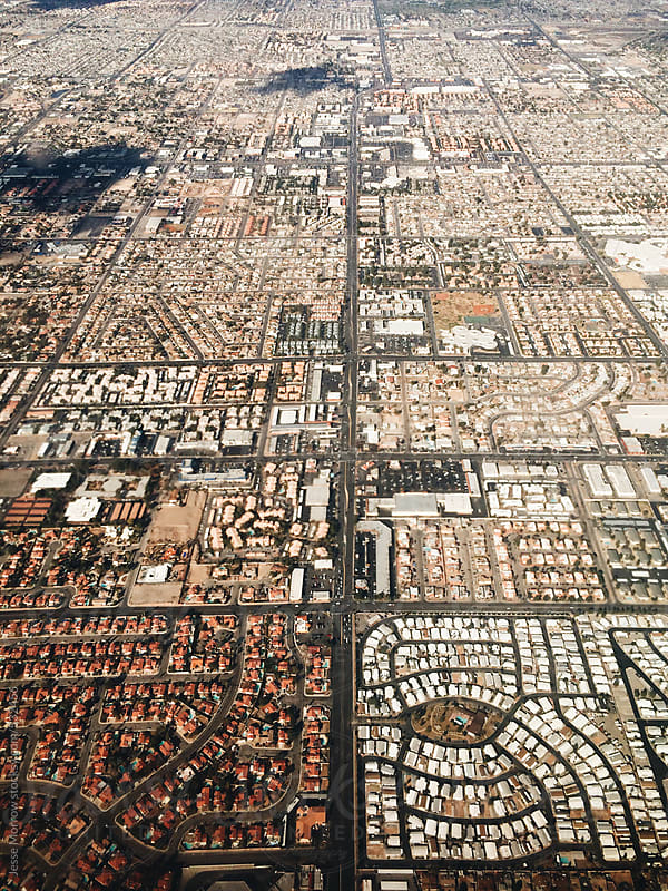 View of city in las vegas from window of airplane by Jesse Morrow for Stocksy United