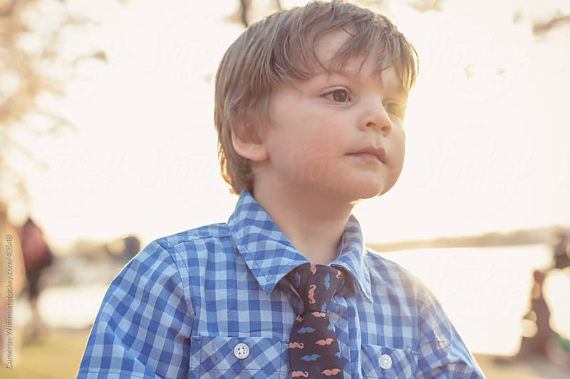 Little Boy Portrait Outdoors Golden Hour by Cameron Whitman for Stocksy United
