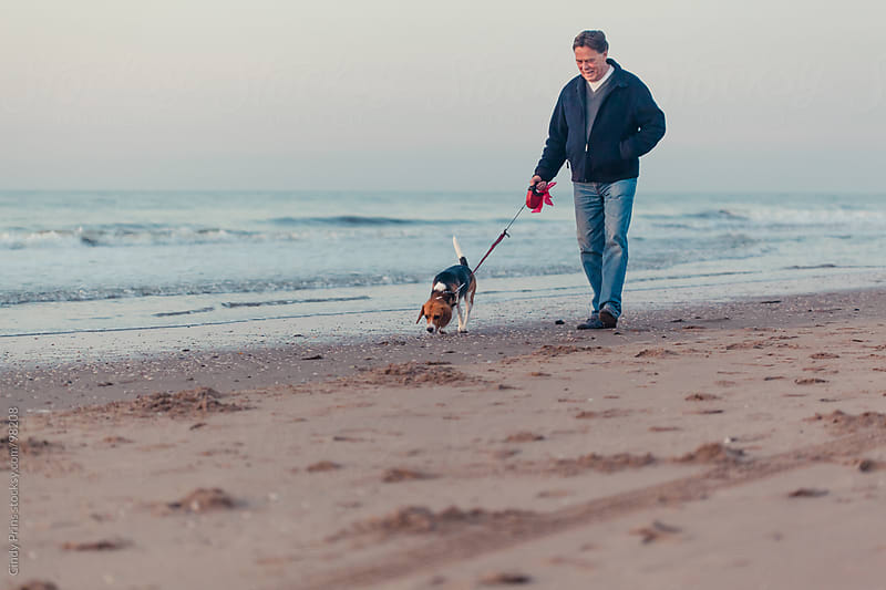 Older man walking on the beach with a beagle dog on a leash by Cindy Prins for Stocksy United