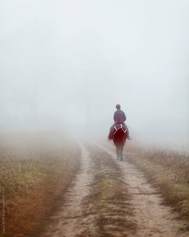 Rear sight of woman riding horse in the fog in countryside track by Laura Stolfi for Stocksy United