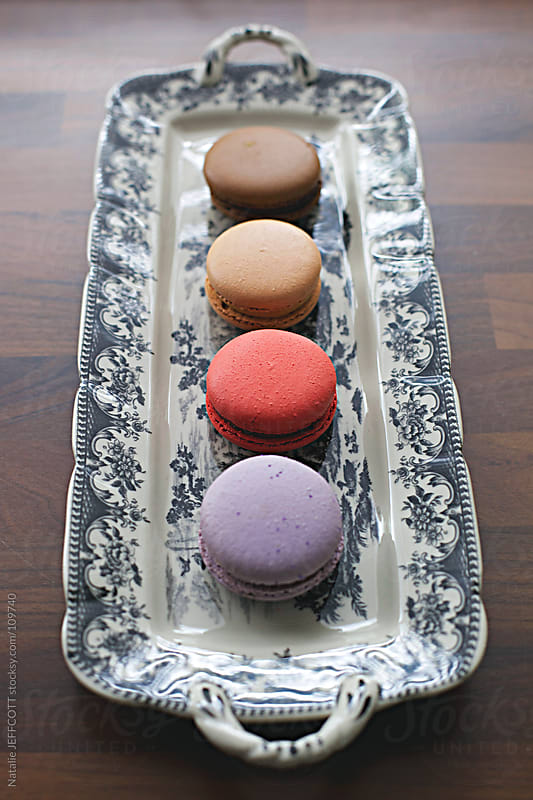 afternoon tea or morning tea is macaroon time by Natalie JEFFCOTT for Stocksy United