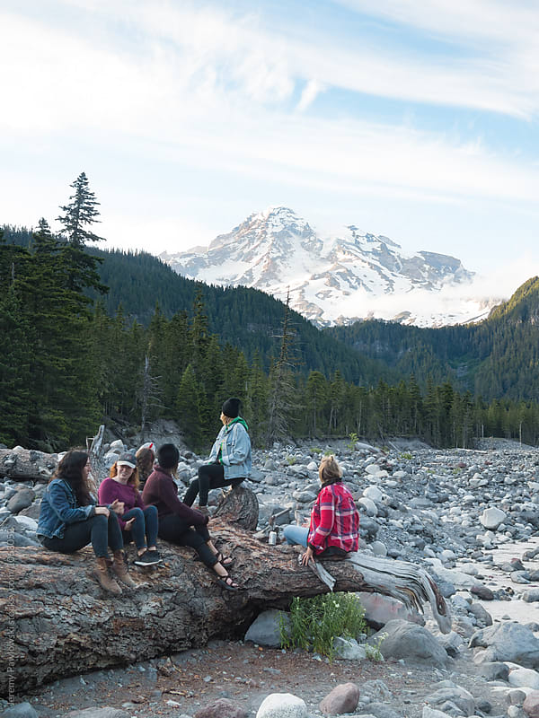 Group of strong hip young women looking at mountain after an outdoor hike by Jeremy Pawlowski for Stocksy United