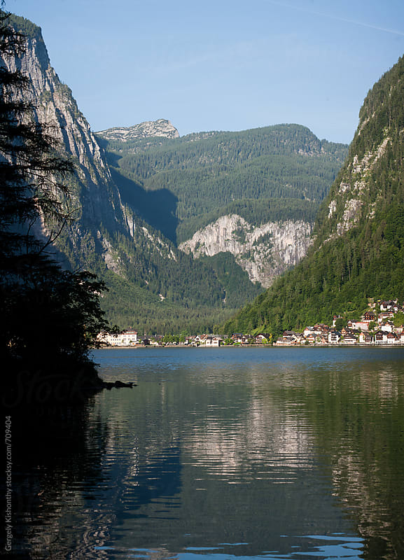 Hallstatt lake at dawn. by Gergely Kishonthy for Stocksy United