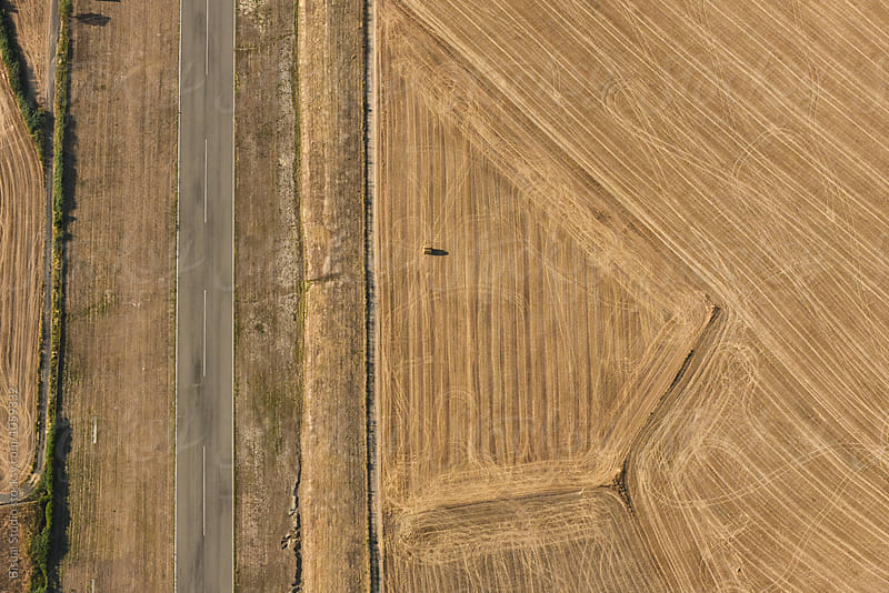 Aerial views of an alone road near wheat fields in summer by Bisual Studio for Stocksy United