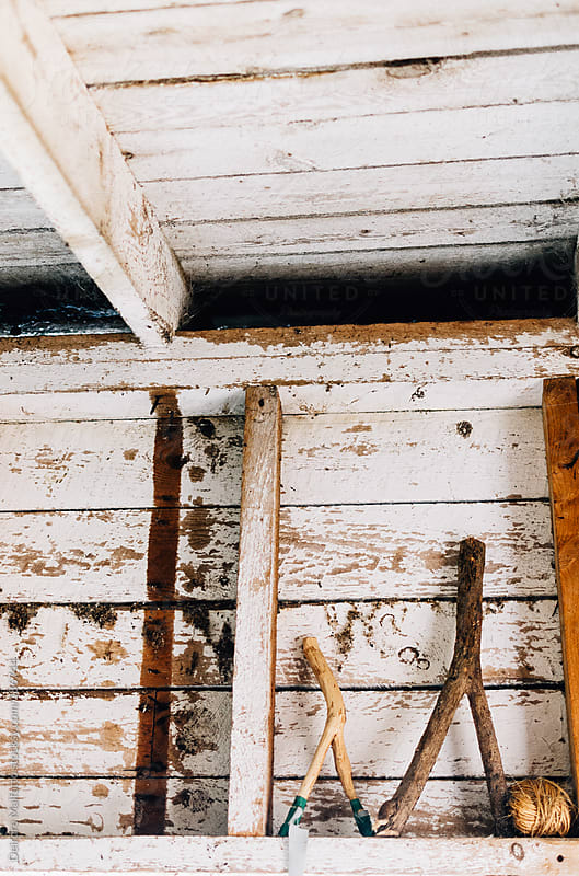 slingshots and a ball of twine on whitewashed rafters by Deirdre Malfatto for Stocksy United
