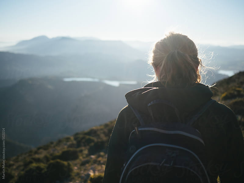 Girl hiking sierra de hume mountain by Martin Matej for Stocksy United