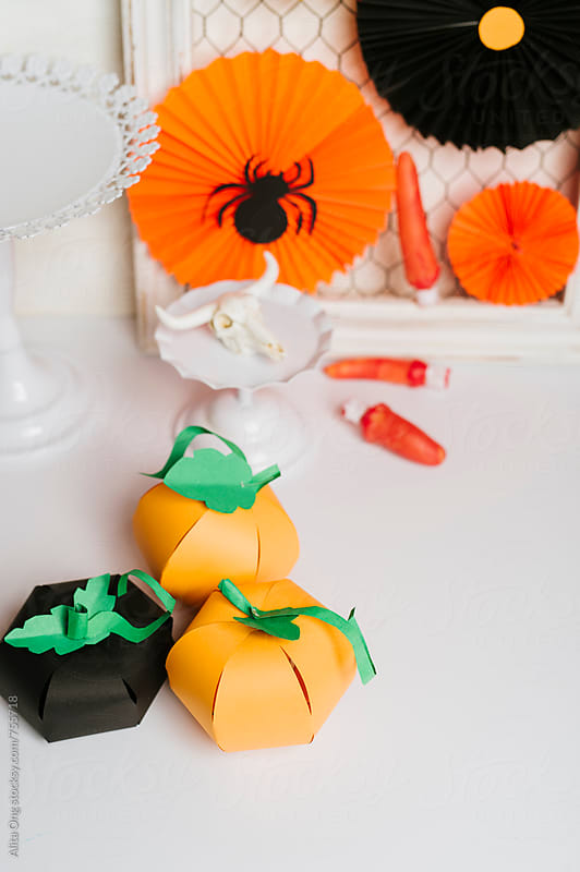 Paper pumpkins by Alita Ong for Stocksy United