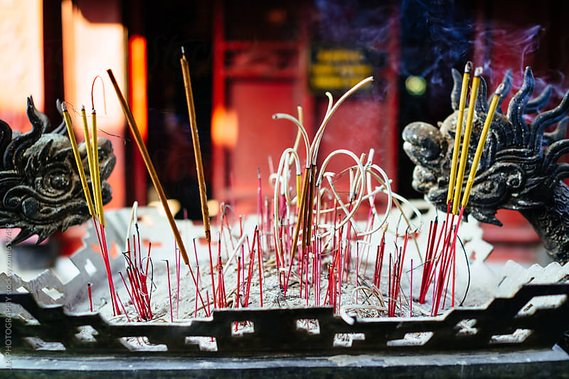Incense sticks by J.R. PHOTOGRAPHY for Stocksy United