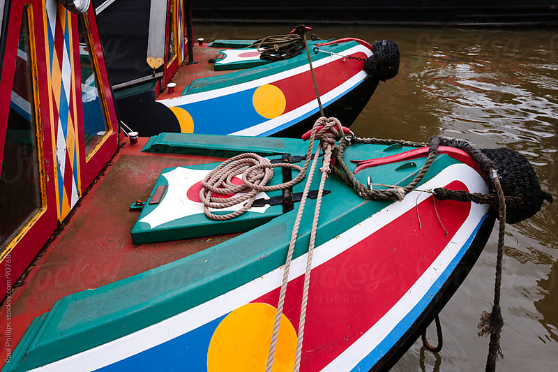 Bright canal boats  by Paul Phillips for Stocksy United