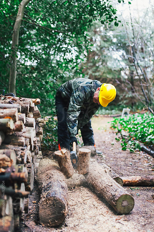 lumberjack chopping wood in a forest with a ax by Ivo de Bruijn for Stocksy United