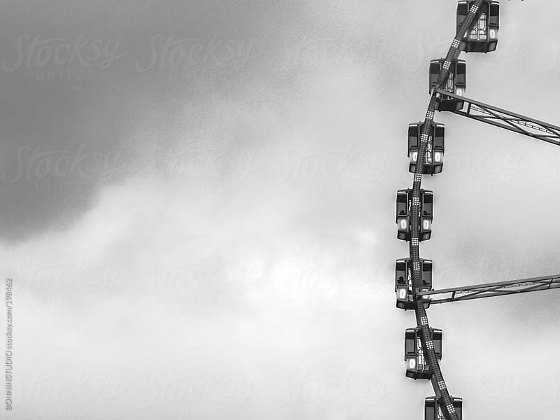Old carrousel, cloudy day. Black and white. by BONNINSTUDIO for Stocksy United