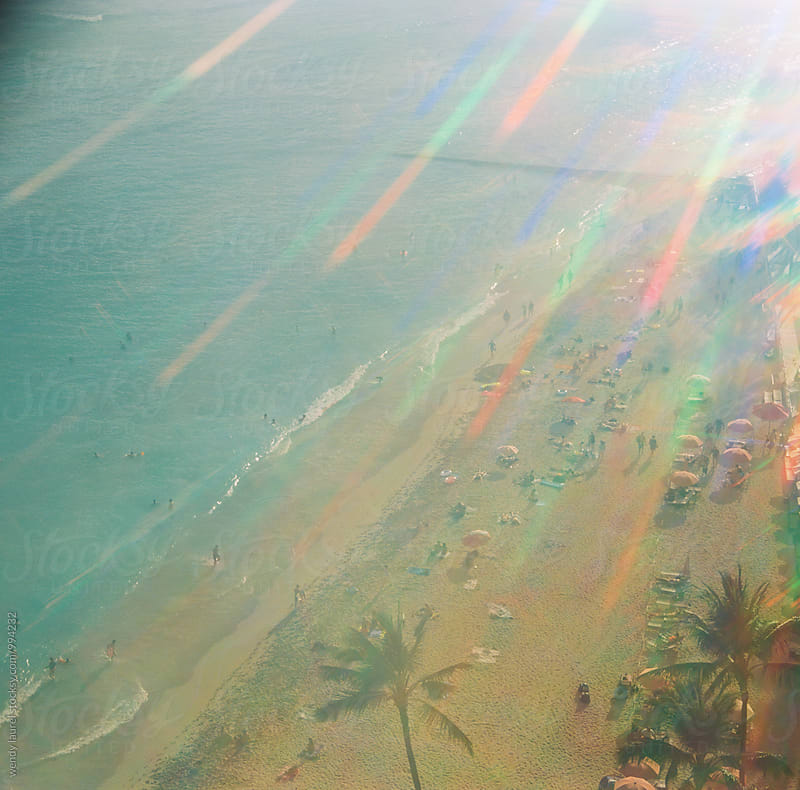 rainbow color streaks over waikiki beach by wendy laurel for Stocksy United