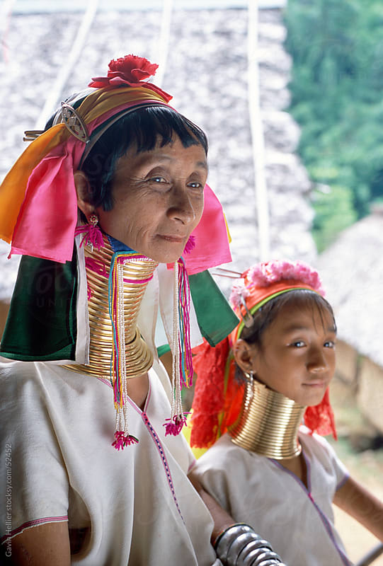 Portrait of two Long necked Padaung tribe women, Mae Hong Son Province, northern Thailand, Asia by Gavin Hellier for Stocksy United