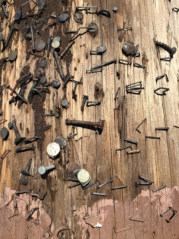 Close up of nails and paint on old telephone pole by Paul Edmondson for Stocksy United