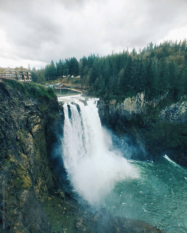 Cloudy Day at Snoqualmie Falls in Snoqualmie, Washington by Jared Harrell for Stocksy United